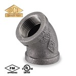 Galvanized Steel Elbow - 45°